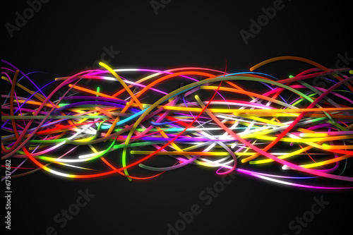Foto op Canvas Graffiti Horizontal Rainbow Strands Line Glow Dark Background