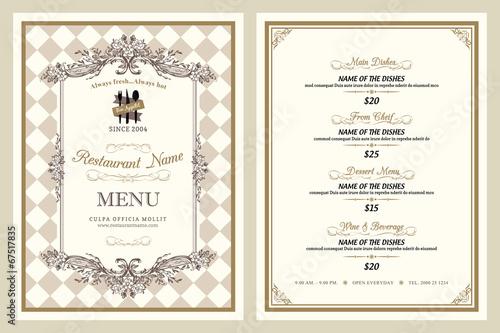 Photographie Vintage style restaurant menu design