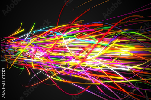Foto op Canvas Graffiti Heavy Rainbow Strands Line Glow Dark Background