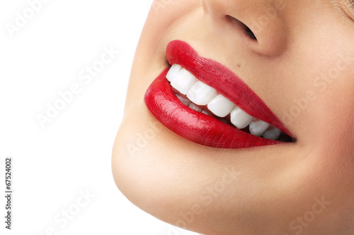 Fotografie, Obraz  red lipstick and white teeth