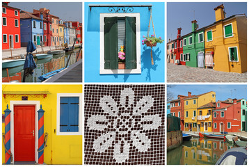 Panel Szklany Kolorowe domki images with fantastic colorful landscape of Burano -collage
