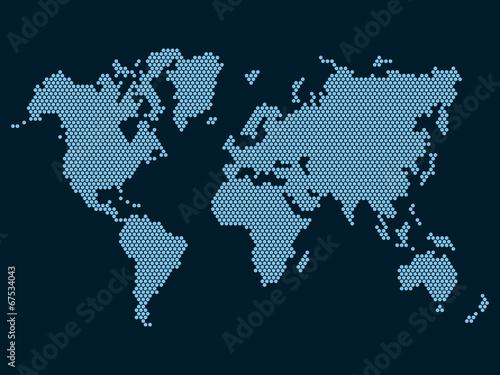 Türaufkleber Weltkarte World Map Dotted on Dark Background. Vector