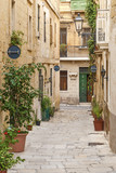 cobbled street in valetta old town malta - 67540469
