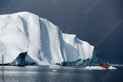 Recess Fitting Pole Red fishing boat around icebergs at Disko Bay, Ilulissat
