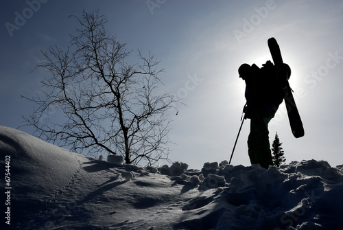 Silhouette of backcountry skier Canvas Print