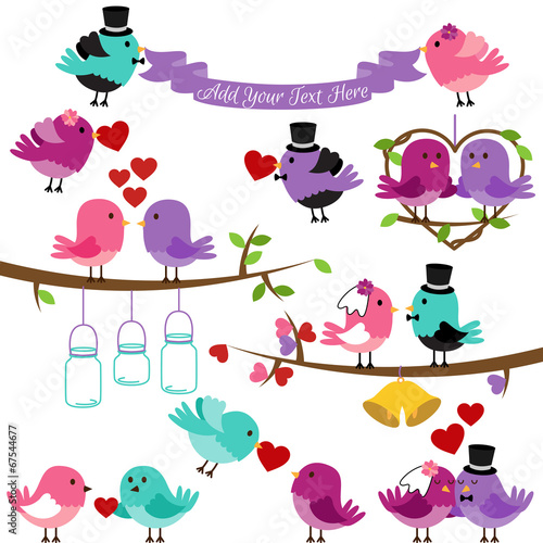 Deurstickers Uilen cartoon Vector Collection of Wedding and Love Themed Birds
