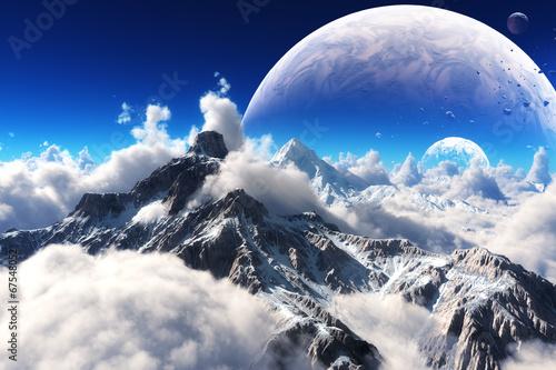 niebianski-widok-snieg-nakrywac-gory-i-obca-planeta