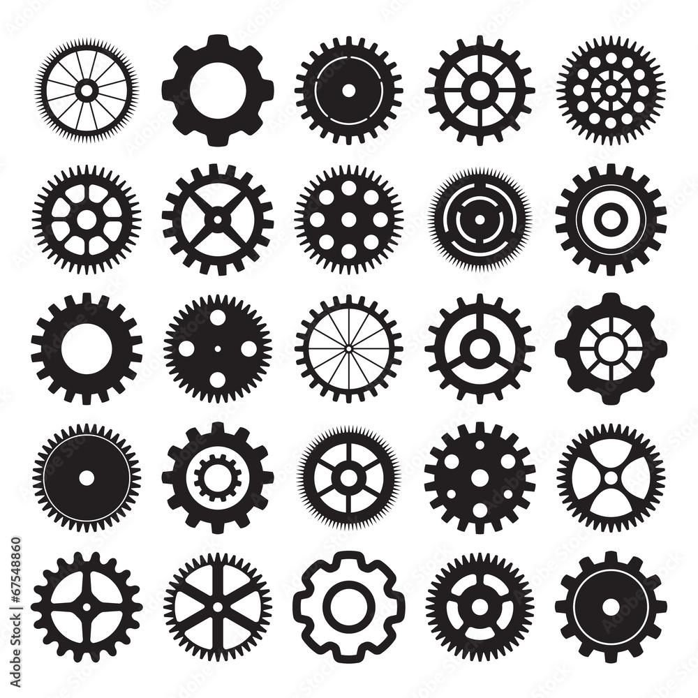 Fototapeta vector set of gear wheels on white background