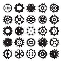 Vector Set Of Gear Wheels On W...