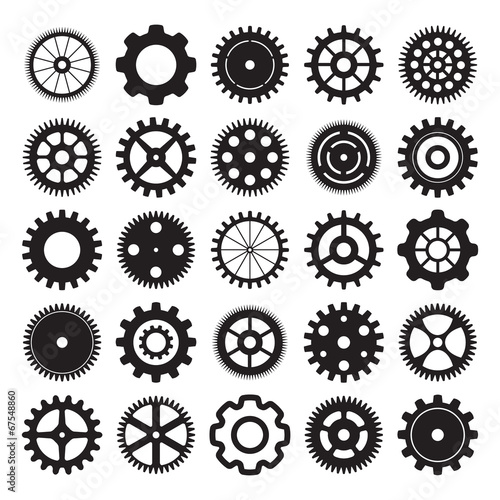 Photo  vector set of gear wheels on white background