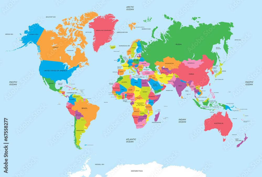 Láminas Mapa político del vector del mundo | Europosters.es