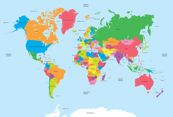 FototapetaPolitical map of the world vector