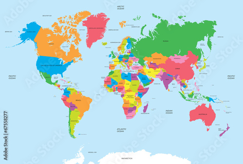 Political map of the world vector Fototapet