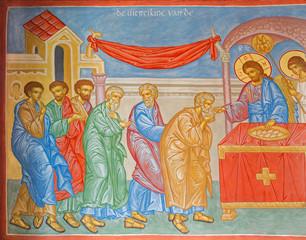Fototapeta Do kościoła Bruges - Fresco of Communion of the apostle in orthodox church