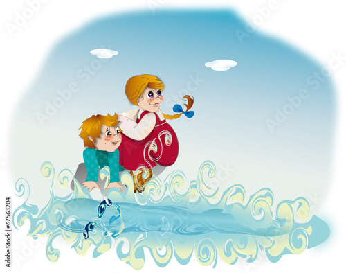 Foto op Canvas Regenboog Girl, boy and river - Russian fairy tale