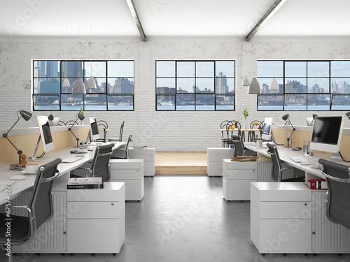 Staande foto Industrial geb. Büro mi Panorama - Office building in New York