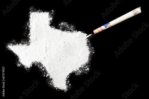 Poster Texas Powder drug like cocaine in the shape of Texas.(series)