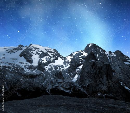 Foto op Aluminium Oceanië Marmolada peak,Val di Fassa in night - Italy Alps