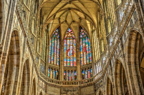 Fotografie, Obraz  Stained windows in St. Vitus Cathedral located within Prague Cas