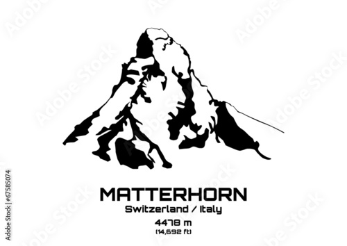 Photo  Outline vector illustration of Mt. Matterhorn