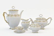 Set Of Antique Tea And Coffee Cups, Isolated