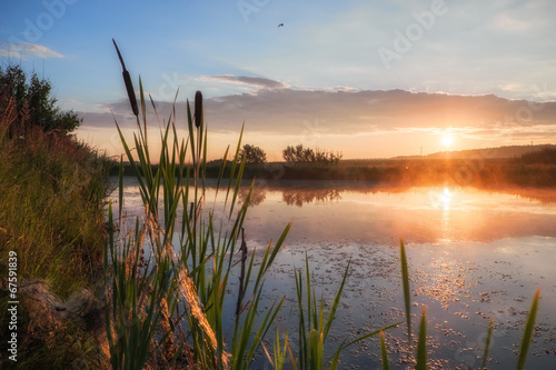 Sunrise on a lake Wallpaper Mural