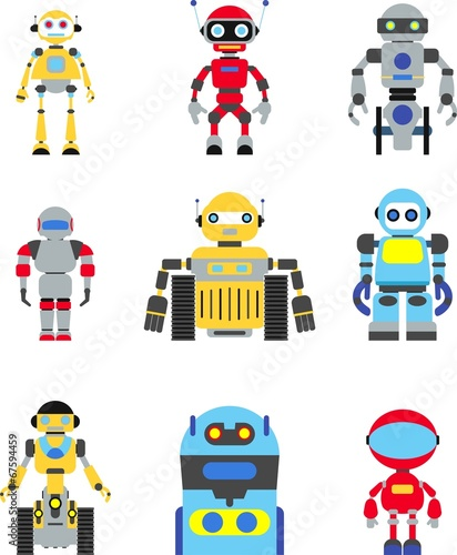 Deurstickers Robots Abstract robots set isolated on white background