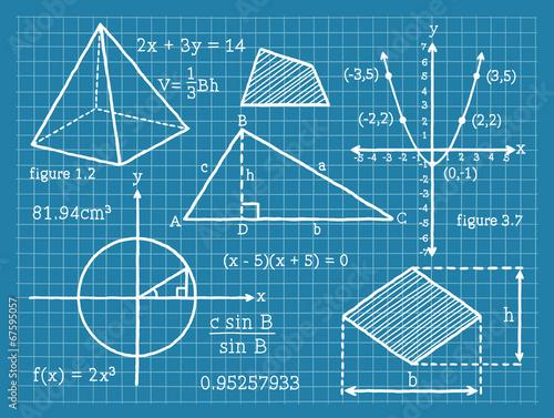 Plakat w ramie Mathematics, Algebra, Geometry