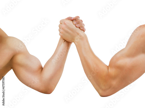 Two muscular hands clasped arm wrestling, isolated on white - Buy ...