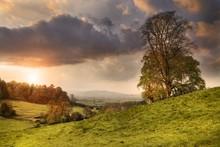 Cotswold Landscape At Sunset