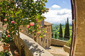 Fototapeta Do gastronomi Roses at balcony in San Gimignano, Tuscany landscape background