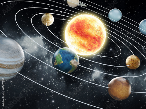 Solar system illustration Wallpaper Mural