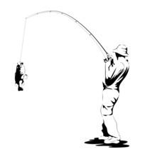 Fisherman Catching A Fish
