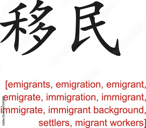 Photo  Chinese Sign for emigrants, emigration, immigration, settlers
