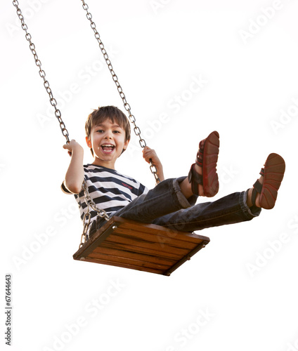 Boy having fun on a swing, on a white background.