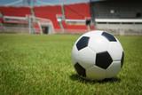 Fototapeta Sport - Soccer Stadium ball in the goal