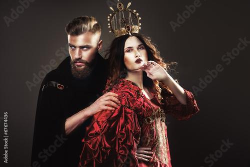 Fotografie, Obraz  king and queen, beautiful fabulous couple
