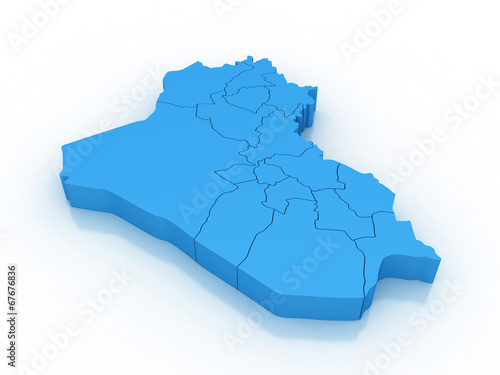 Fotografija  3d map Iraq with regions