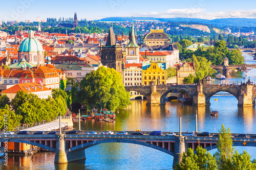 Canvas Print Bridges of Prague, Czech Republic
