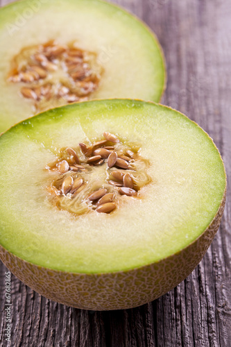 Staande foto Zuivelproducten Cantaloupe melon slices