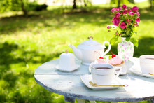 Coffee Table With Teacups And ...