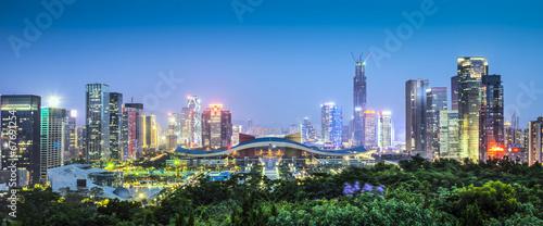 Deurstickers China Shenzhen, China Civic Center Panorama