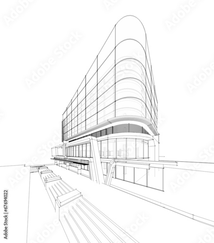 perspective 3d render of building wireframe buy this stock