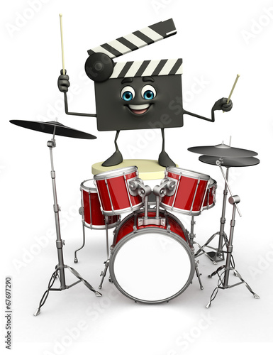 Fotografie, Obraz  Clapper Board Character with drum set