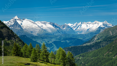 Fotobehang Alpen European Alps. Panorama with high mountains