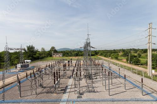 Fotografia  Sub station 115/22 kV outdoor type bird eye view