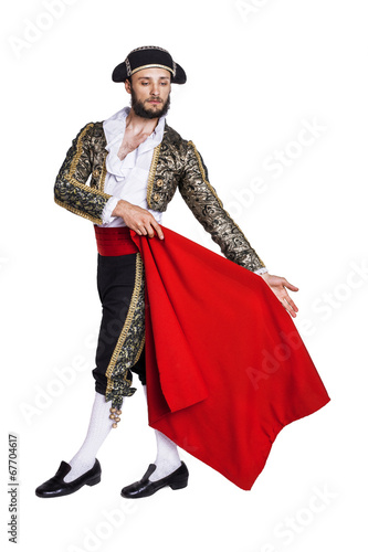 La pose en embrasure Corrida Male dressed as matador on a white background