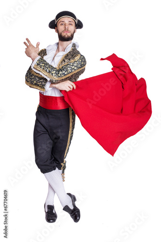 Fotobehang Stierenvechten Male dressed as matador on a white background