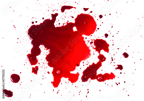 Blood stains (puddle) isolated on white background. Fototapet