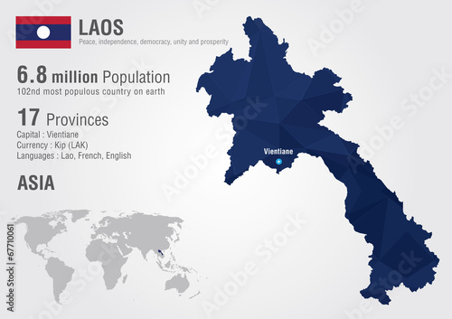 Laos world map with a pixel diamond texture. Wallpaper Mural